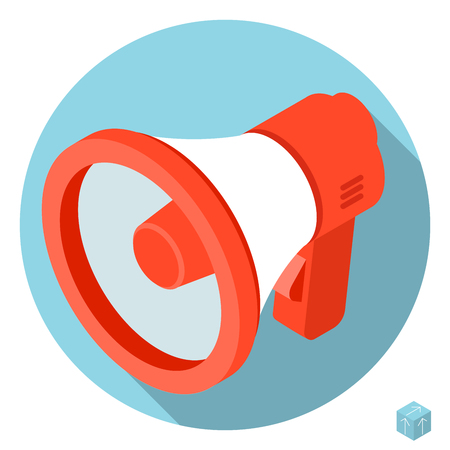 Flat design 3d loudspeaker megaphone vector icon with long shadow.