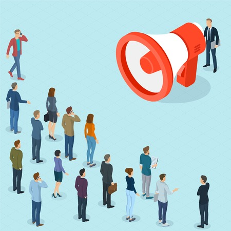 Flat design 3d isometric man promoter with loudspeaker talking to crowd.  Megaphone alert promotion and propaganda  vector template.