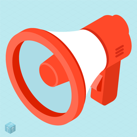 Megaphone vector isometric isolated flat design web mobile icon template. Sign  and  symbol for message, alert, propaganda, advertising, announce attention, public communication. Ilustrace