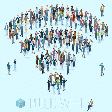 People crowd shaped as sign of public wi-fi. Flat design 3d isometric people, men and women various poses, styles and professions front and back view.