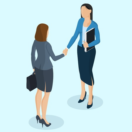 Successful businesswomen handshaking after negotiation. Isometric 3d flat design vector people different characters, styles and professions.