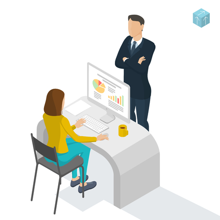 Isometric people working in office. Flat design vector mock up.