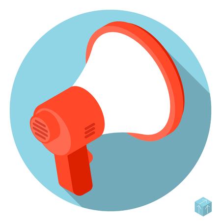 urgent announcement: Flat design 3d loudspeaker megaphone vector icon with long shadow.