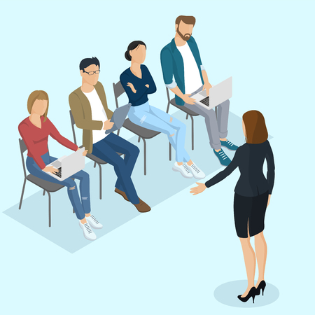 briefing: Isometric people, briefing, instruction, education, business training. Working in the office vector people different characters, styles and professions, full length diverse acting poses collection.