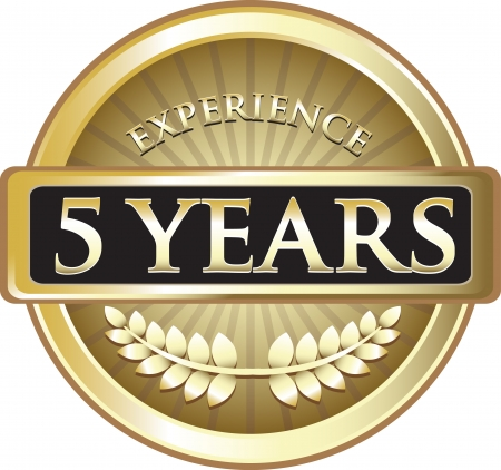 Five Years Experience Gold Award Vector