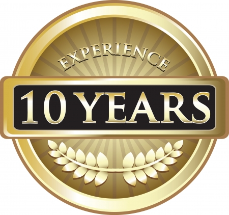 Ten Years Experience Gold Award Vector