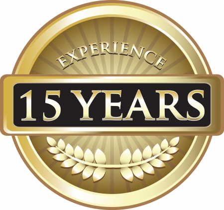 Fifteen Years Experience Gold Award Vector