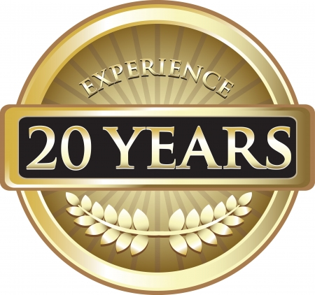 Twenty Years Experience Gold Award Vector