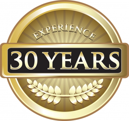 Thirty Years Experience Gold Award Vector