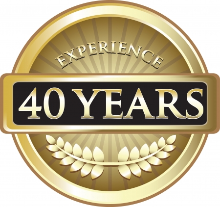 Forty Years Experience Gold Award Vector