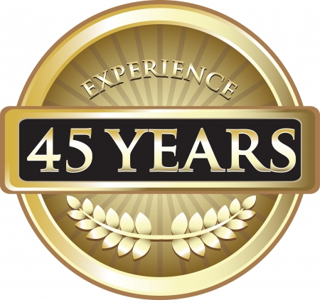 Forty Five Years Experience Gold Award Vector