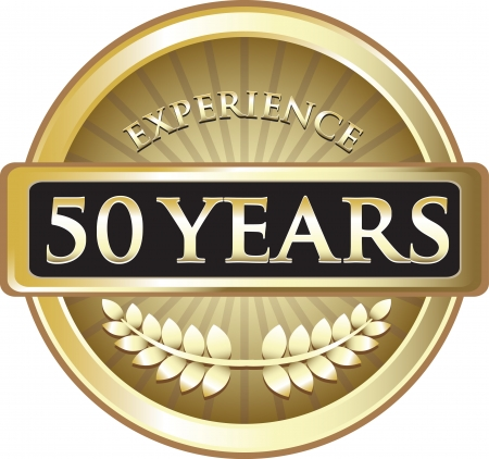 Fifty Years Experience Gold Award Vector