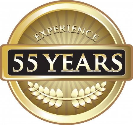 Fifty Five Years Experience Gold Award Vector