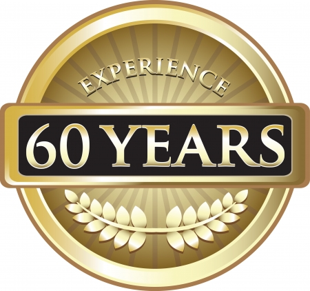 Sixty Years Experience Gold Award Vector
