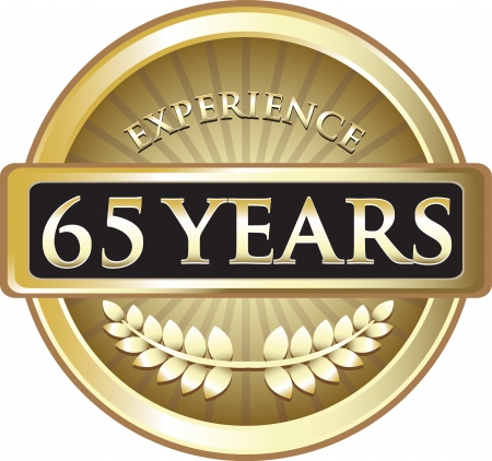 Sixty Five Years Experience Gold Award Vector