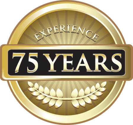 Seventy Five Years Experience Gold Award Vector