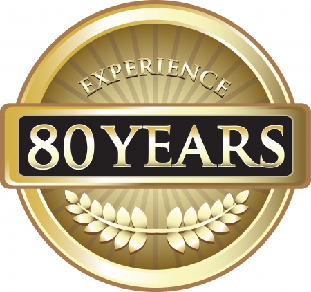 Eighty Years Experience Gold Award Vector