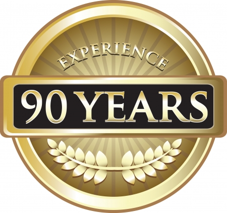 Ninety Years Experience Gold Award Vector