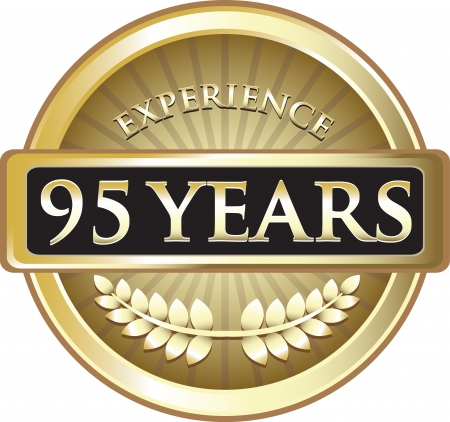 Ninety Five Years Experience Gold Award Vector