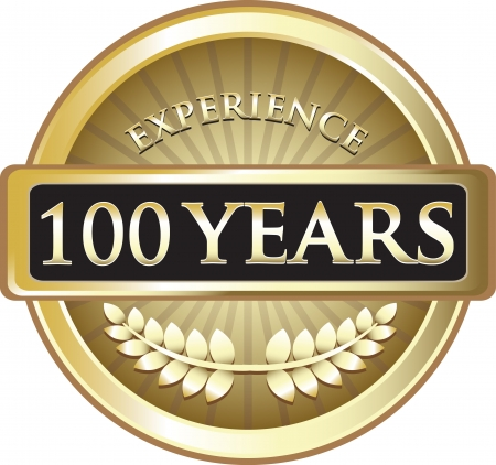 Hundred Years Experience Gold Award Vector