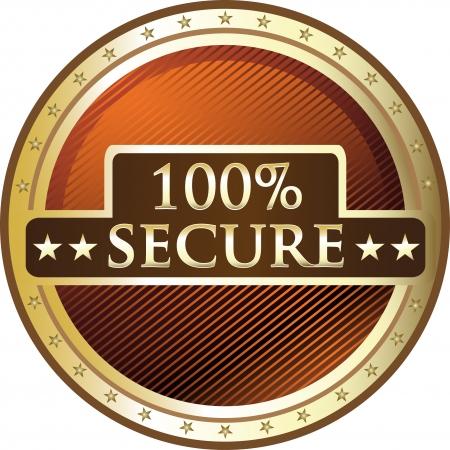 trusted: Hundred Percent Secure Award Illustration