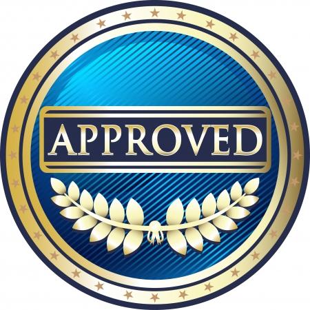 approved icon: Approved Blue Vintage Label Illustration