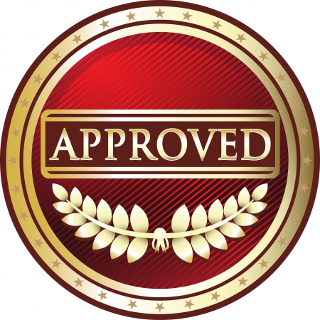 Approved Red Vintage Label Vector
