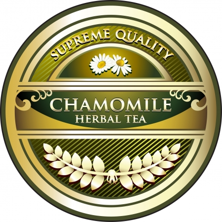 chamomile tea: Chamomile Tea Vintage Label Illustration