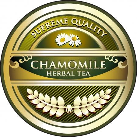 chamomile tea: Chamomile Tea Vintage Label Illustration