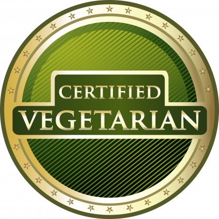Certified Vegetarian Golden Award Vector