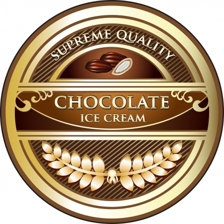 Chocolate Ice Cream Vintage Label Vector