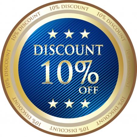 Blue Discount Medal Of Ten Percent Vector