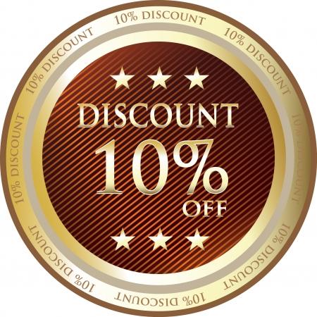 Red Discount Medal Of Ten Percent Vector