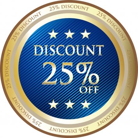Blue Discount Medal Of Twenty Five Percent Vector