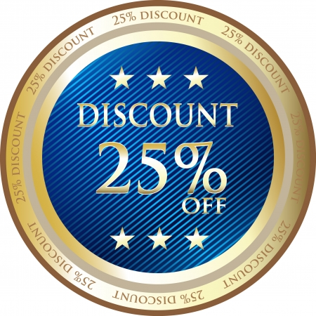 twenty five: Medalla de descuento azul de veinticinco por ciento