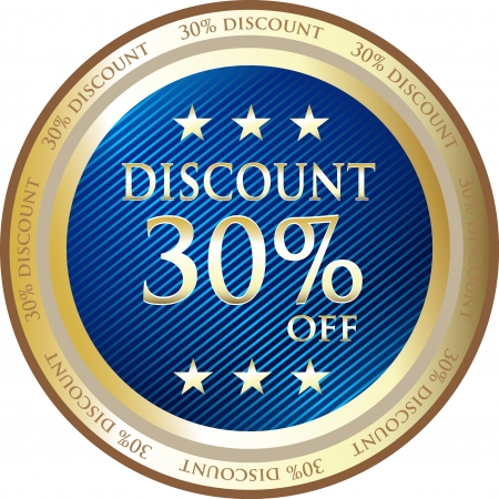 sell off: Blue Discount Medal Of Thirty Percent