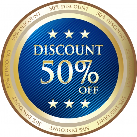 Blue Discount Medal Of Fifty Percent Vector