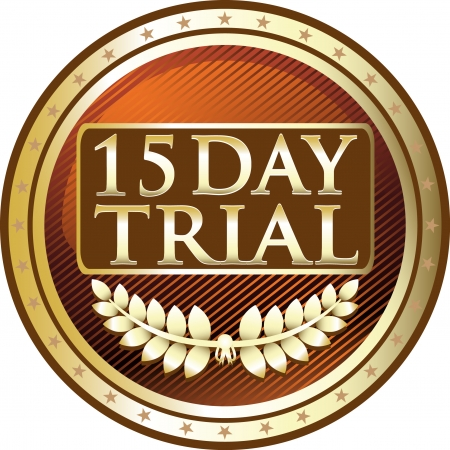 Fifteen Day Trial Gold Medal Vector