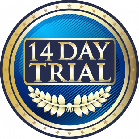Fourteen Day Trial Blue Medal Vector