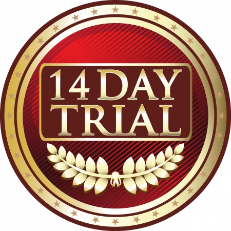 Fourteen Day Trial Red Medal Vector