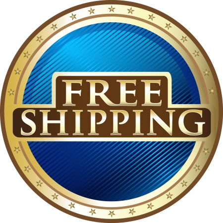 international shipping: Free Shipping Blue Award Illustration