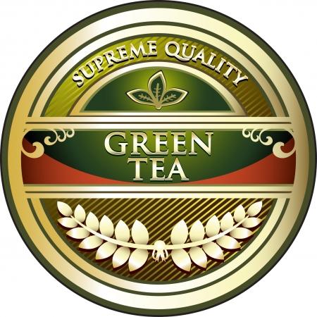 green tea leaf: Green Tea Vintage Label