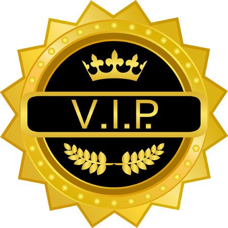 VIP 골드 배지 벡터 일러스트 레이 션.
