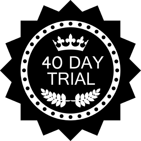 Forty day trial black icon, vector illustration.