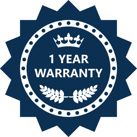 One Year Warranty Label Icon.