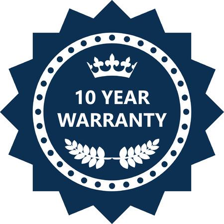 Ten Year Warranty Label Icon. Vettoriali