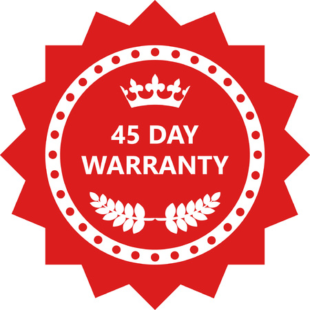 Forty Five Day Warranty Label Icon.