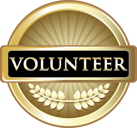 Volunteer Gold Icon Label Vector illustration.