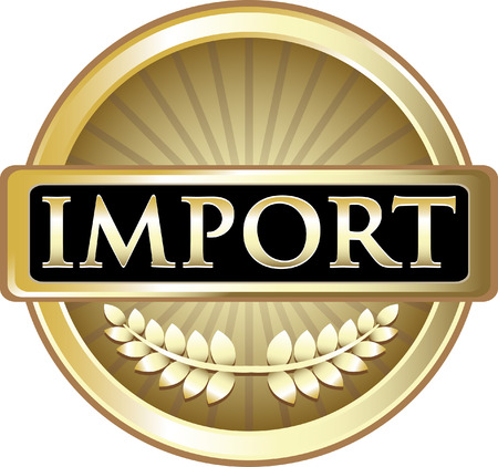 Import Red Gold Icon Label isolated on  plain background