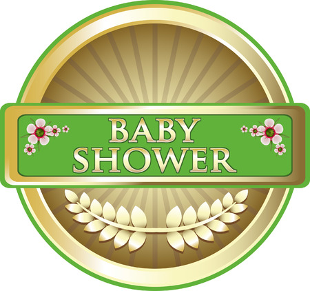 Baby Shower Green Label With Flowers